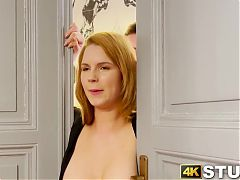Redhead with natural melons moans during vibrator play while stuck