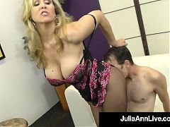 Dominating diva julia ann plays with dick in pantyhosed feet