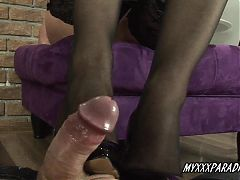 Shoe job and feet job with cum on feet in stockings