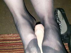Nylon socks footjob