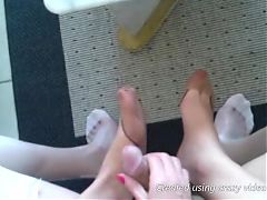 Handjob and footjob in retro ff stokings