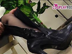 Hot cops in pantyhose take their boots off and show feet