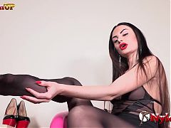 Goddess ambra spicy dangling and footjob in pantyhose