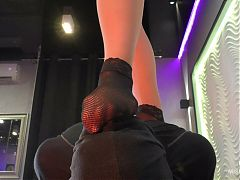 Mistress dominate her slave - foot worship and face sitting