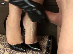 Handjob in high heels