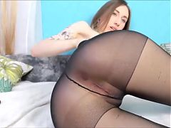 Girls in pantyhose put finger in ass