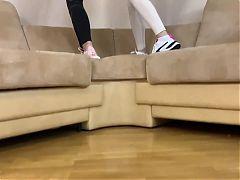Socks, sneakers, soles and bare feet pov teasing femdom
